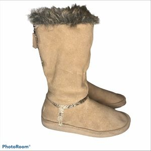 Juicy Couture Ohara Boots Size 40 Tan Gold